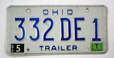 Vintage 1983 Original OHIO Trailer License Plate 332DE1