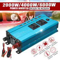 2000-6000W Solar Car Power Inverter DC12V to AC220V Sine Wave Converter 4USB
