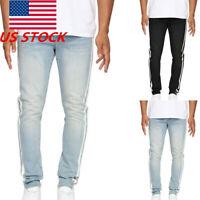 US Mens Striped Skinny Ripped Jeans Slim Fit Stretch Retro Biker Denim Jean Pant