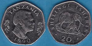 Tanzania 1990 20 Shilingi KM-27.1 Nickel plated steel aUNC Shiny - US Seller