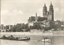 Magdeburg, Schiffe, Schleppkahn auf der Elbe, alte Foto-Ansichtskarte