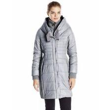 T TAHARI Women's GRAY Puffer Down Coat Hood Collar Size XXL Snap Buttons Zip Up