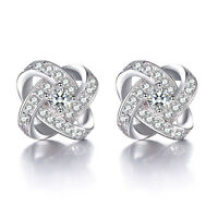 Hot!!! Solid 925 Sterling Silver Natural Zircon Eternal Star Ear Stud Earrings