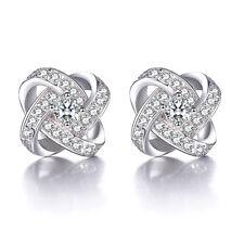 Women's Solid 925 Sterling Silver Natural Zircon Eternal Star Ear Stud Earrings