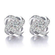 Solid 925 Sterling Silver Natural Zircon Eternal Star Ear Stud Earrings