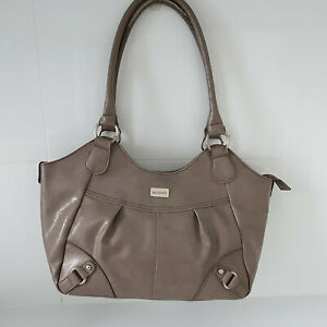 'CABRELLI' EC TAUPE ZIP OPENING PLEATED FRONT SILVER TRIM DOUBLE STRAP BAG