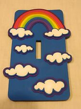 NEW RUBBER LASER CUT LIGHT SWITCH COVER - RAINBOW & CLOUDS