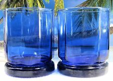 AWESOME 2 SHORT 10 SIDED DEEP COBALT BLUE ANCHOR HOCKING GLASS DRINKING GLASSES