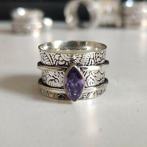 Amethyst Spinner Ring 925 Sterling Silver Plated Handmade Ring Size 8  JP138