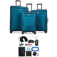 American Tourister Pop Max 3 Pc Luggage Spinner Set 29/25/21 Teal+Travel Bundle