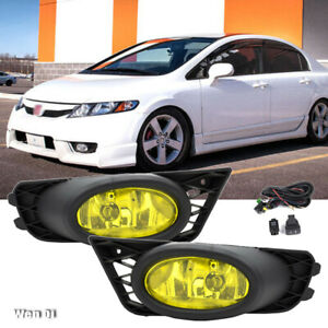 For 2009-2011 Honda Civic 4dr Sedan Yellow Lens Driving Fog Lights + Switch Set