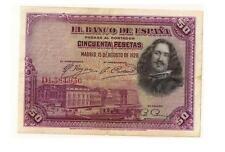 ESPAÑA: 50 PESETAS pintor VELAZQUEZ. AÑO 1928. CON SERIE. BC+. ENVIO GRATIS.