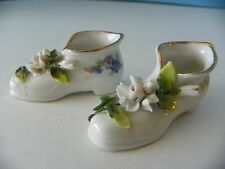 Antique porcelain miniature shoes with flowers from Germany