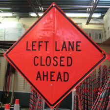 "Left Lane Closed Ahead Sign Fluorescent Vinyl with Ribs 48""x 48"""