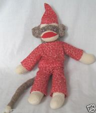 Handmade Sock Monkey 16 Inch Plush Stuffed Animal Flannel Outfit