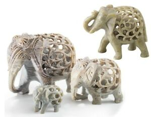 Hand Carved Soapstone Elephant Ornament Statue with Baby Carved inside 4 Designs