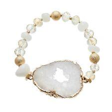 Stretch Bracelet with white agate beads and white druzy quartz stone - Jae W