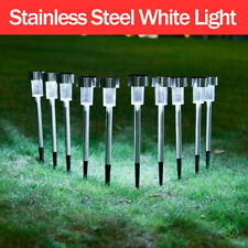 1-12Pcs Outdoor Stainless Steel Led Solar Power Light Lawn Garden Landscape Lamp