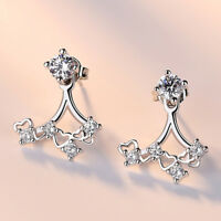925 Sterling Silver Stud Earrings Crystal Pearl Style Women Fashion Jewelry