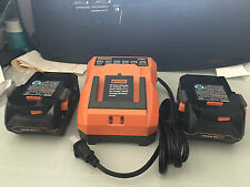 2 Brand New Ridgid R840083 18V LithiumIon X4 Hyper Batteries & 18v DualCharger