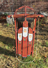 HAPPY HOLIDAY CHRISTMAS FOLK PAINTED 3 WISE MEN WOOD & METAL RUNNER SLED SIGNED