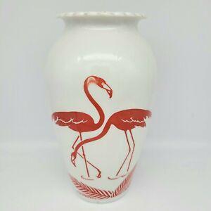 "Vintage Anchor Hocking Fire King White Milk Glass Red Flamingo 9"" Tall Vase"