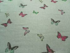 Sanderson Curtain Fabric BUTTERFLY VOILE 1.1m Fuchsia/Cream Linen Woodland Walks