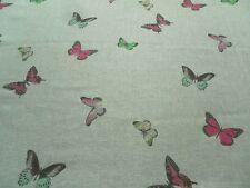 Sanderson Curtain Fabric BUTTERFLY VOILE 1.1m Fuchsia/Cream Linen Woodland Walks
