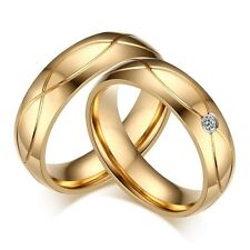 18K Gold Plated Stainless Steel CZ Engagement Band Wedding Couple Ring Size 5-13