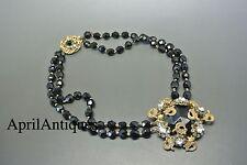 Vintage Miriam Haskell black facet glasses filigree pendant beaded necklace