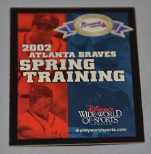 Atlanta Braves 2002 Spring Training Pocket Schedule Disney World Maddux Glavine