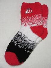 UTAH UTES NCAA FOR BARE FEET WOMEN'S MARQUEE FUZZY SLEEP SOFT SOCKS