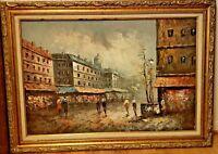Impressionist Art Original Oil Painting People Street Buildings Signed Canning