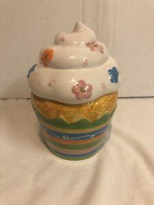 Ceramic David's Cookies Cupcake Cookie Jar 7 Inch Pastel Easter Flower sprinkle