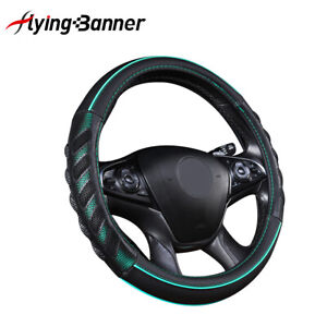 """Car Steering Wheel Cover 15"""" Black and Green Syn Leather TPE Massage Odorless"""