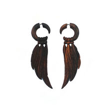 Carved Wood Earrings Feather Tribal Faux Gauge Jewelry Organic Handmade Gift
