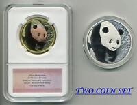 2017 China Panda Denver ANA Show Medals Silver and Tri-metal matching COA 2 Coin