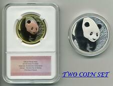 2017 China Panda Denver ANA Show Medals Silver and Tri-metal matching COA 2 Coin