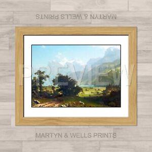 Albert Bierstadt framed print: Lake Lucerne. 400x325mm. Textured canvas paper