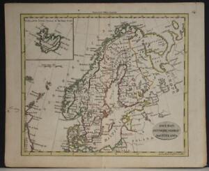 SCANDINAVIAN PENINSULA 1802 JOHN WALKER ANTIQUE ORIGINAL COPPER ENGRAVED MAP