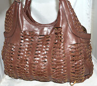 Heritage Dark Brown Loosely Woven Faux Leather Large Hobo Bag with Braided Strap