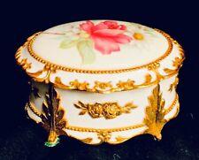 San Francisco Music Box Compa 00004000 ny Floral Footed Hinged Trinket Box Plays Memory