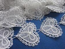 "5y Heart 2"" Bow Lace Edge Trim Ribbon Wedding Applique DIY Sewing-White"