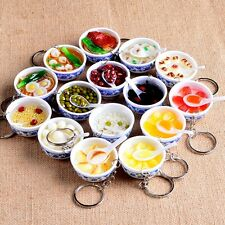 New Food Simulation Key Chains Chinese Blue And White Porcelain Bowl Keychain