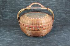 """Antique Chinese Wicker Reed Handle Sewing Basket, 12"""" Dia. x 6"""" Not Incl. Handle"""