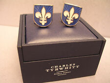 SET OF FABULOUS GENUINE CHARLES TYRWHITT ENAMEL FLEUR DE LYS CUFFLINKS BOXED