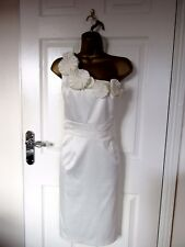 "STUNNING IVORY SATIN OCCASION DRESS BY TEATRO UK-14 BUST 38"" HIP 40"" LENGTH 39"""