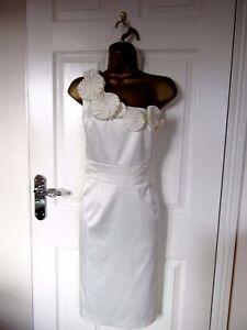 """Teatro Size UK-14 Lined Ivory one shoulder dress  BUST 38"""" VGC"""