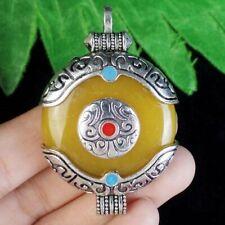 Wrap Tibetan Silver Yellow Amber Round Connector Pendant Bead S74732