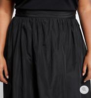 Ladies Midi Skirt M&S Black Taffeta Look Pull On Full 26 BNWT Marks Curve Women
